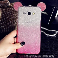 Cute Ears Gradient Glitter 2 in 1 Transparent Soft Back Cover for Galaxy J5 2016 - Pink